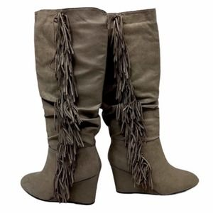 Gray Knee High Faux Sued & Leather Tassel Boots